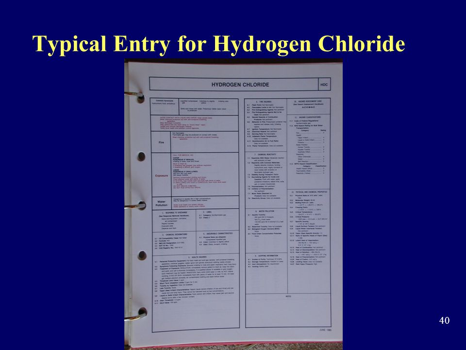 Typical Entry for Hydrogen Chloride