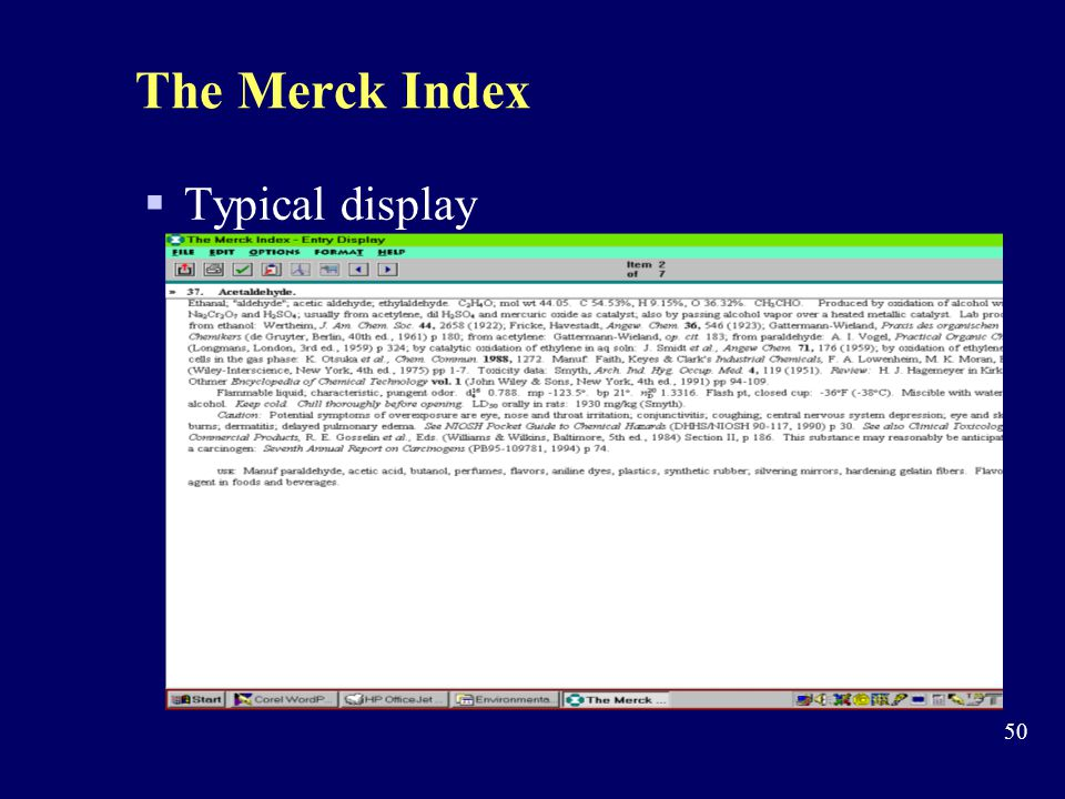 The Merck Index Typical display