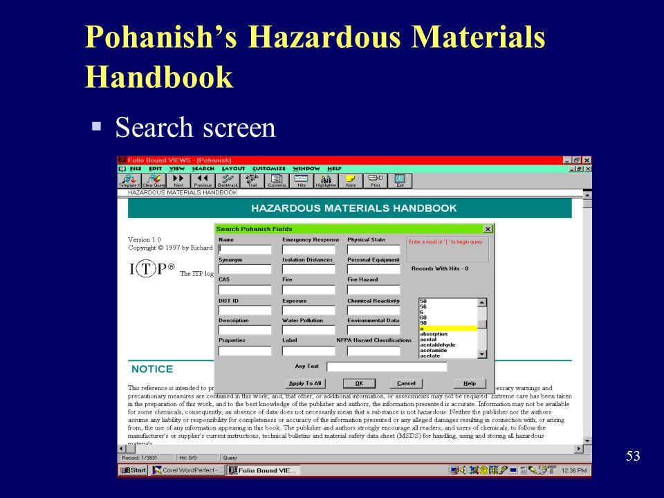 Pohanish's Hazardous Materials Handbook