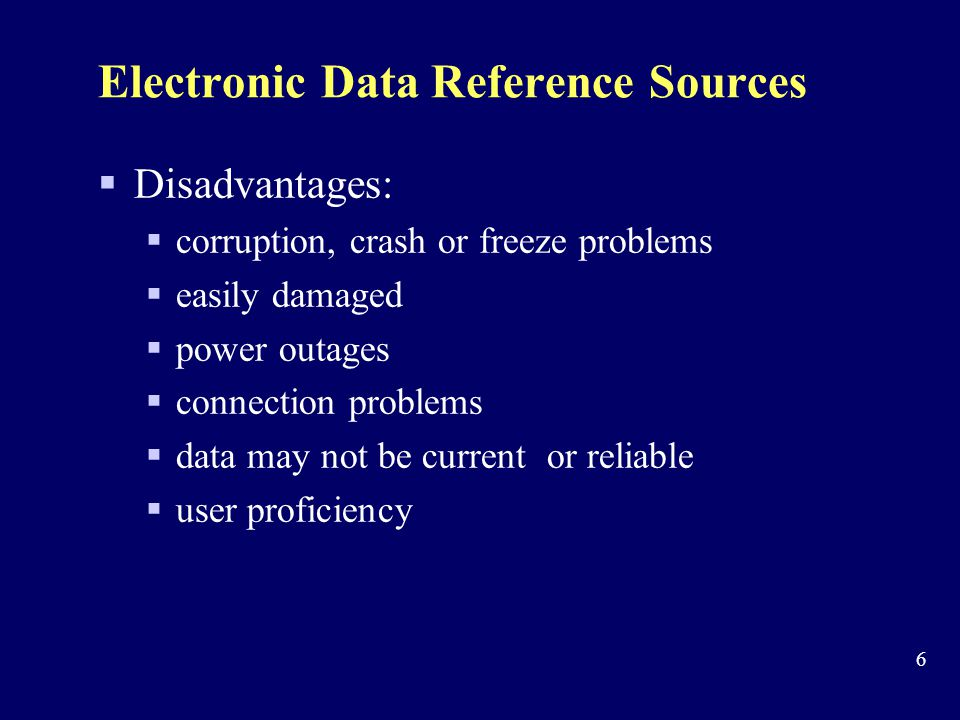 Electronic Data Reference Sources