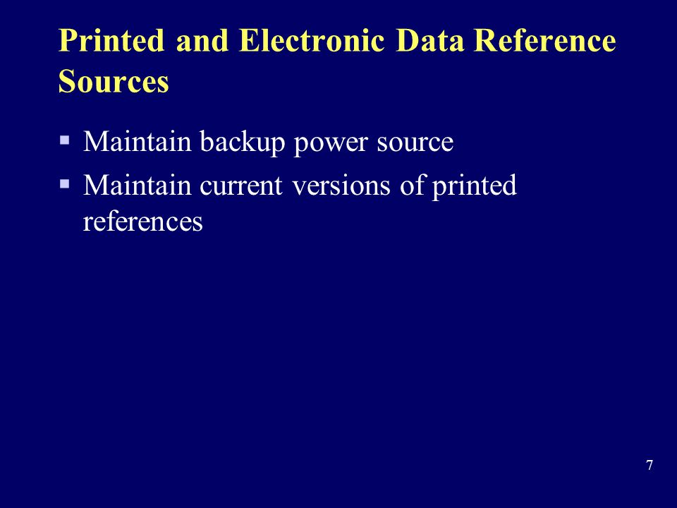 Printed and Electronic Data Reference Sources