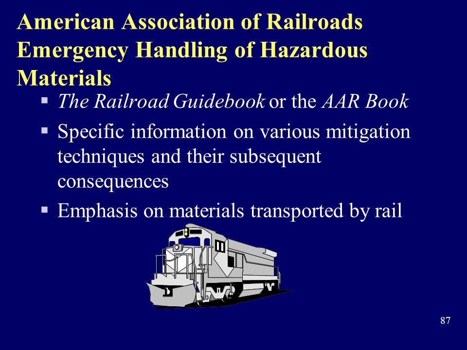 American Association of Railroads Emergency Handling of Hazardous Materials