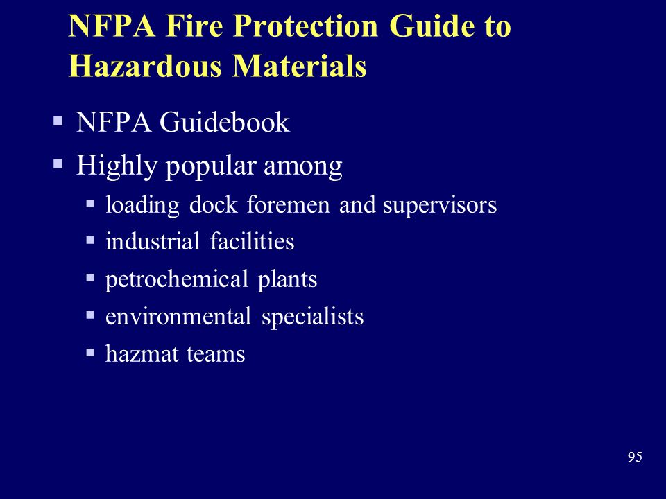 NFPA Fire Protection Guide to Hazardous Materials
