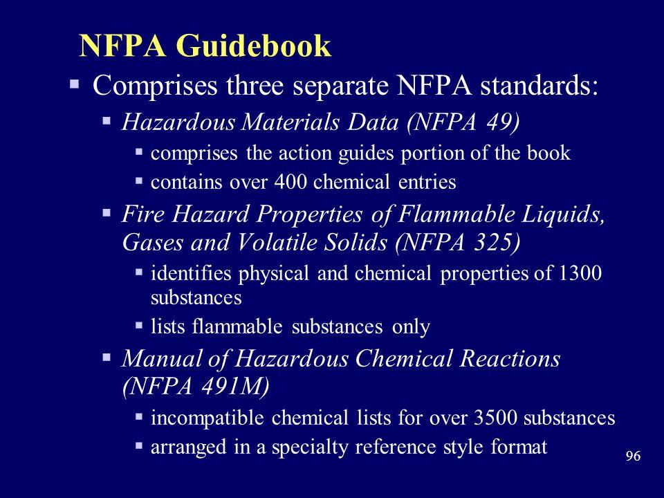 NFPA Guidebook Comprises three separate NFPA standards: