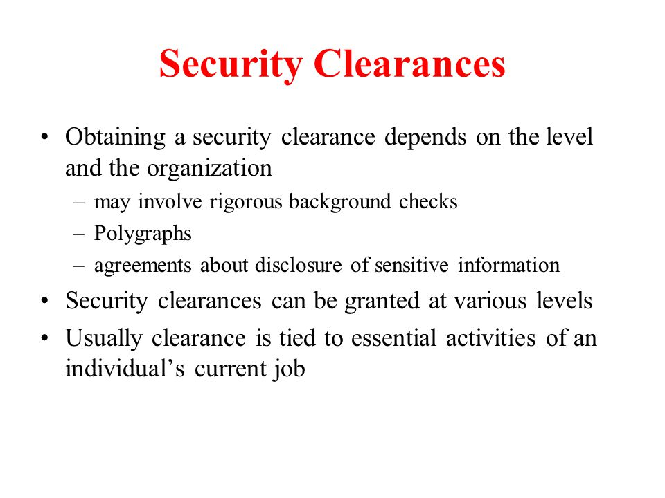 21 levels of security clearances above potus page 1 2010