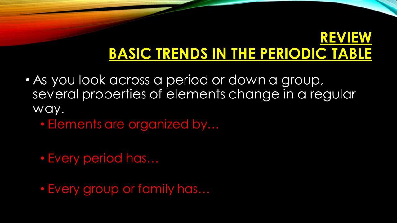 Group family column ppt video online download review basic trends in the periodic table gamestrikefo Image collections