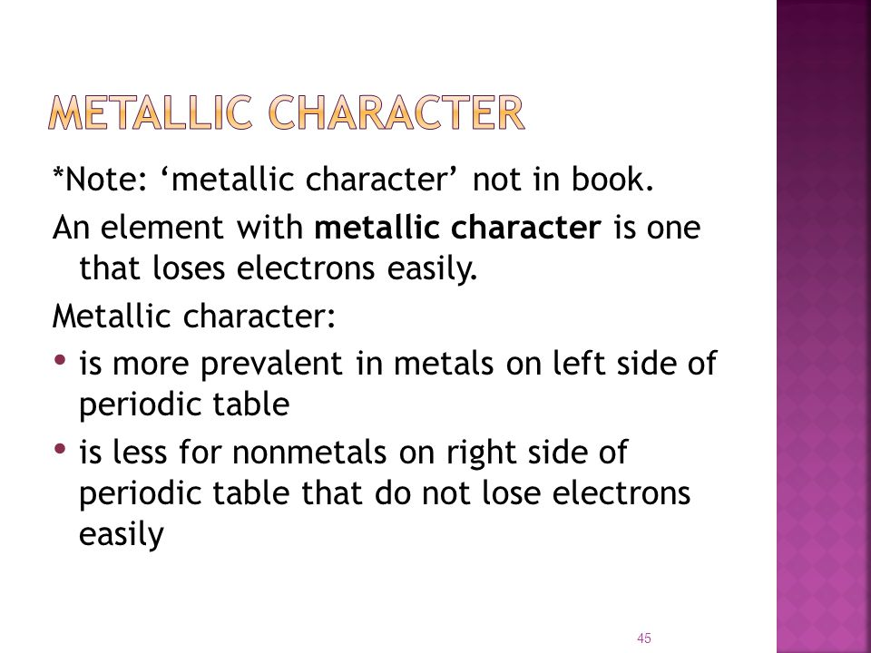 periodic table and metallic character General trends of metallic and nonmetallic behaviors of elements in the periodic table: metallic properties increase and  metallic character decreases with.