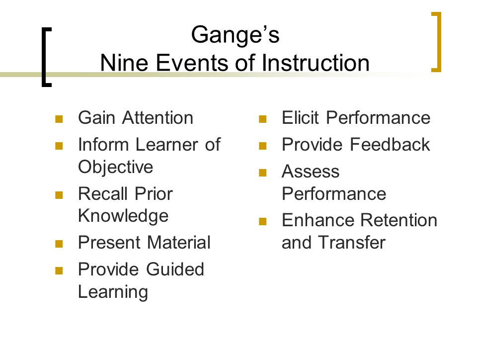 Gange's Nine Events of Instruction