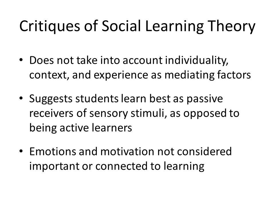 Critiques of Social Learning Theory