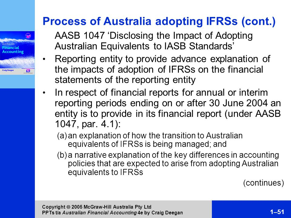 aasb and adoption of ifrs The effect of ifrs adoption on the financial reports of local  financial reports of local government entities kamran ahmed1, manzurul alam2  are significant benefits as claimed by aasb in the adoption of ifrs standards by all sectors, especially the local government entities.