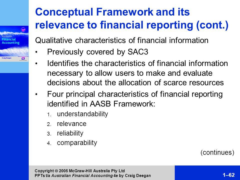 the financial statement understandability relevance reliability Qualitative characteristics are the attributes that make the information provided in financial statements useful to users the four principal qualitative characteristics are understandability, relevance, reliability and comparability.