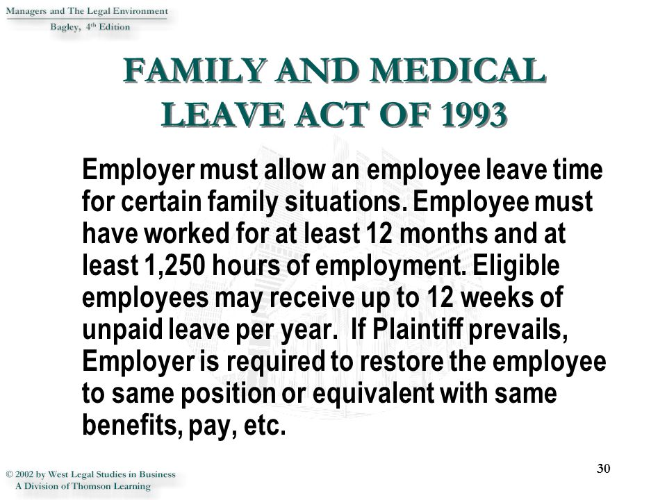 he family and medical leave act of 1993 essay And medical leave act (fmla) overview for state of nevada  executive branch agencies  page | 2 summary   summary the family  and medical leave act of 1993 (fmla) is a federal law the fmla.