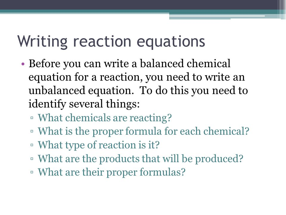 how to write chemical reactions in word