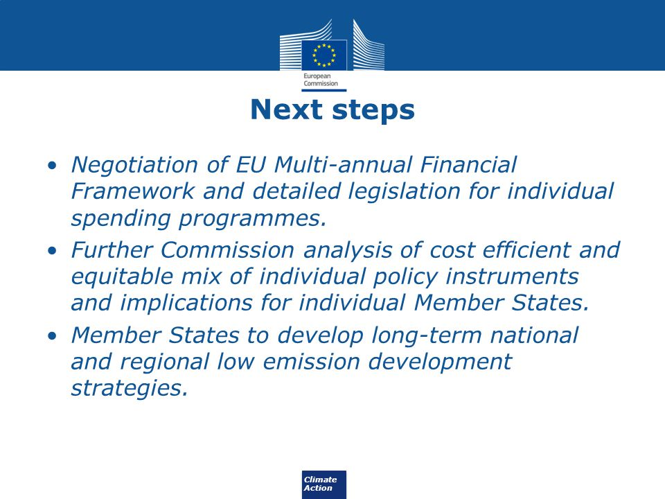 Next steps Negotiation of EU Multi-annual Financial Framework and detailed legislation for individual spending programmes.