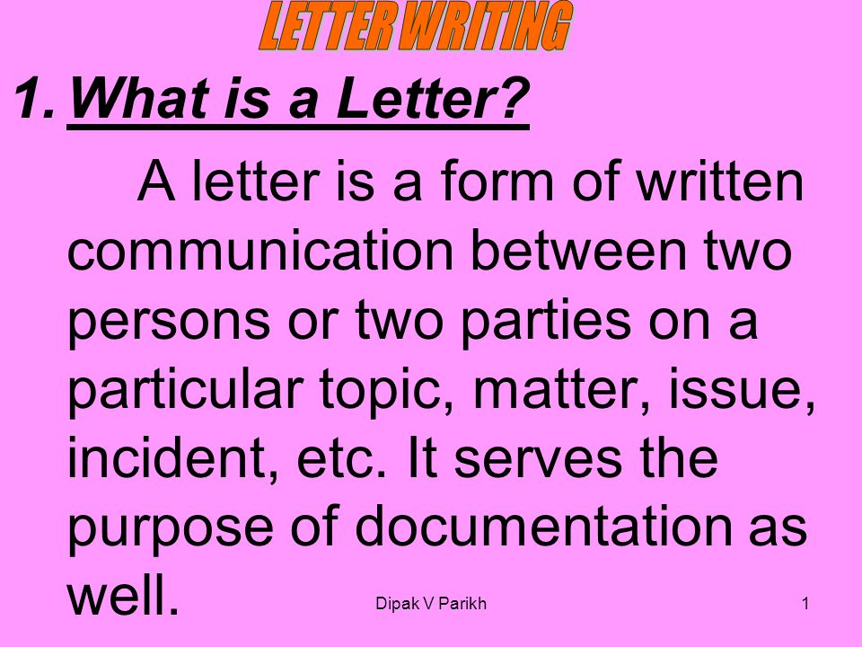 LETTER WRITING What is a Letter?   ppt video online download