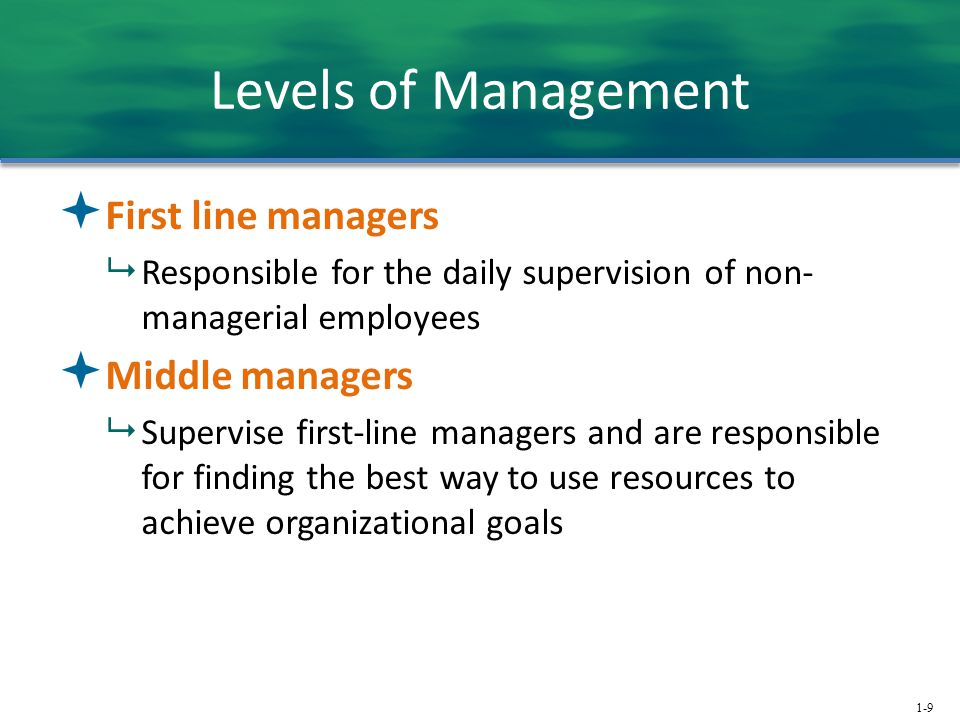 Levels of Management First line managers Middle managers