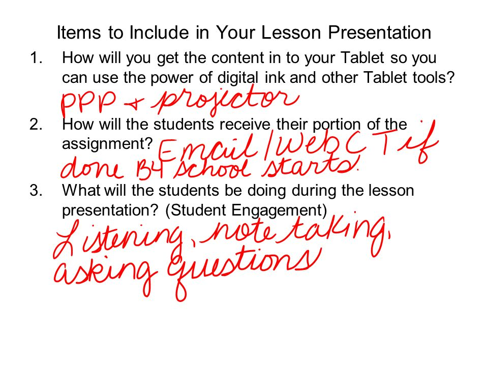 Items to Include in Your Lesson Presentation