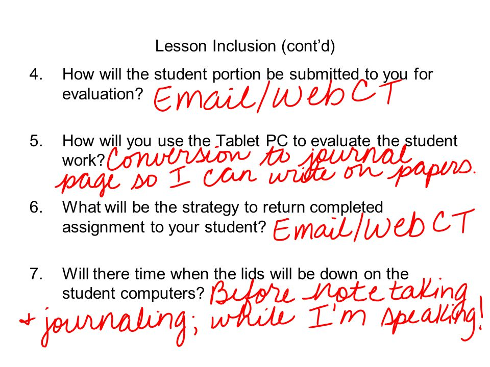 Lesson Inclusion (cont'd)