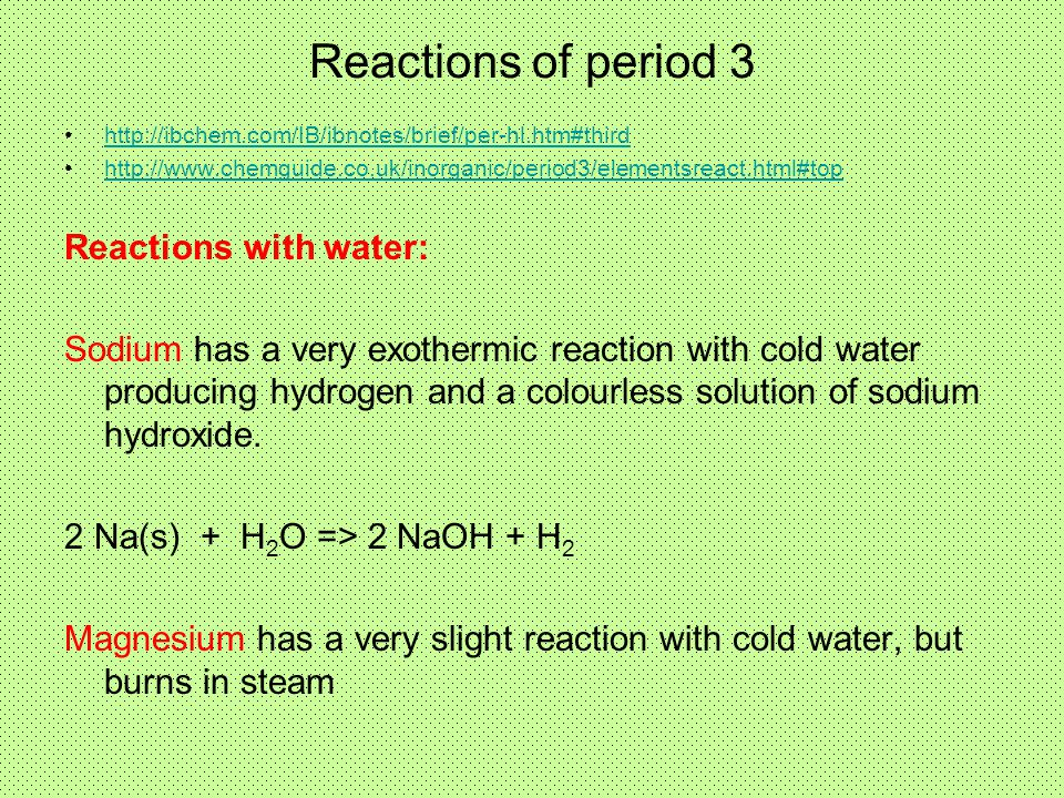 Reactions of period 3 Reactions with water:
