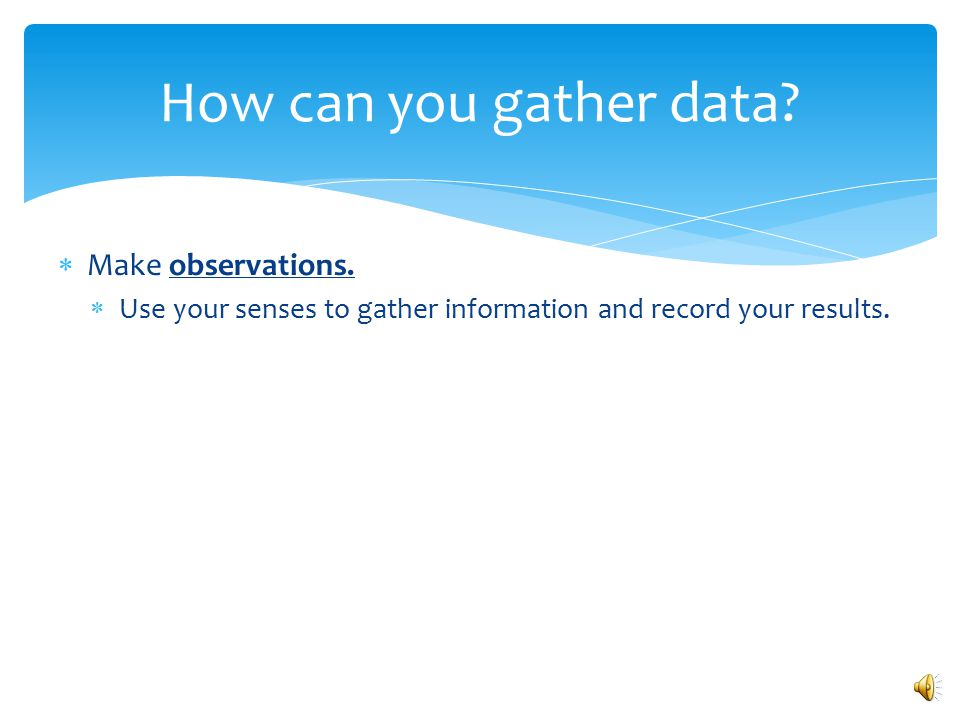 How can you gather data Make observations.