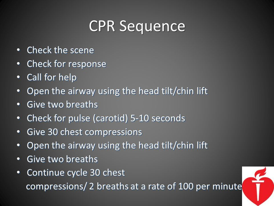 CPR Sequence Check the scene Check for response Call for help
