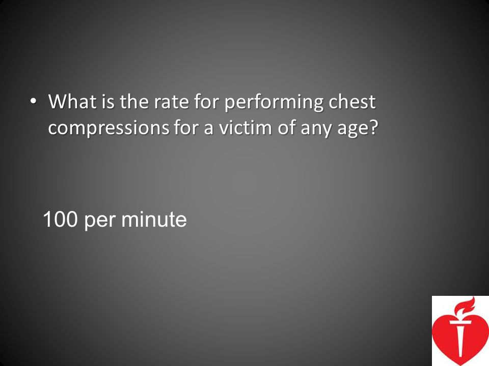 What is the rate for performing chest compressions for a victim of any age