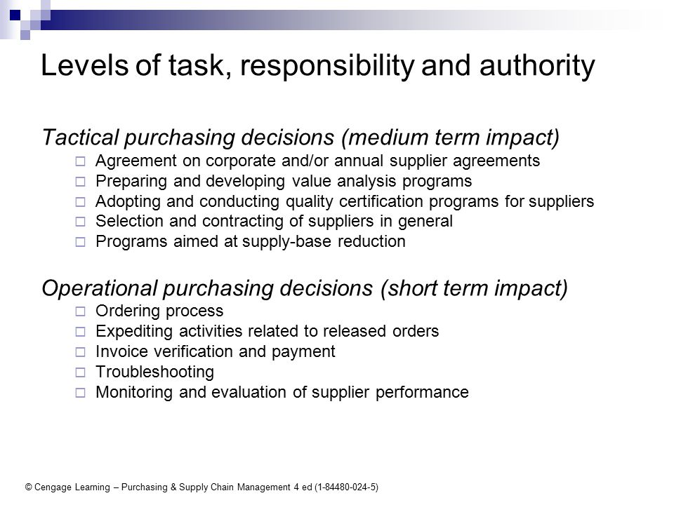 13 getting organized for purchasing ppt download 6 levels of task responsibility and authority tactical purchasing decisions medium term impact agreement platinumwayz