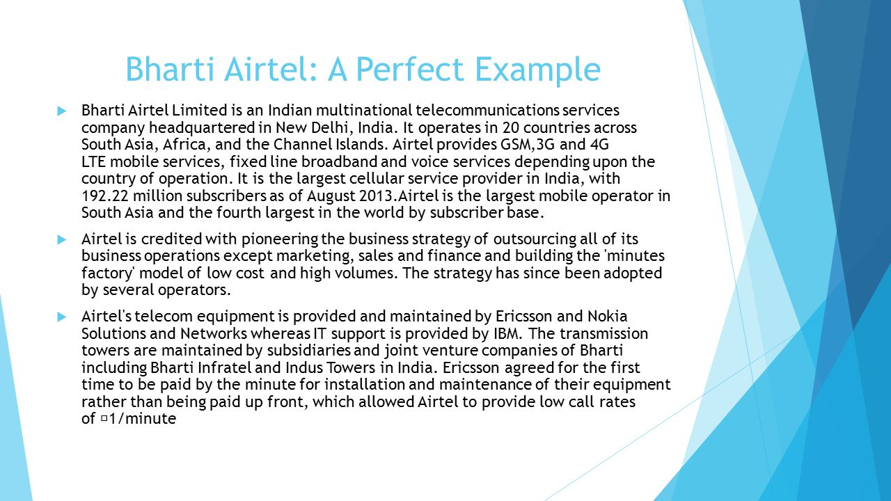 bharti airtel in africa essay This essay looks at the multinational mobile communications  mtn's internationalisation strategy  while in other parts of africa they include bharti airtel.