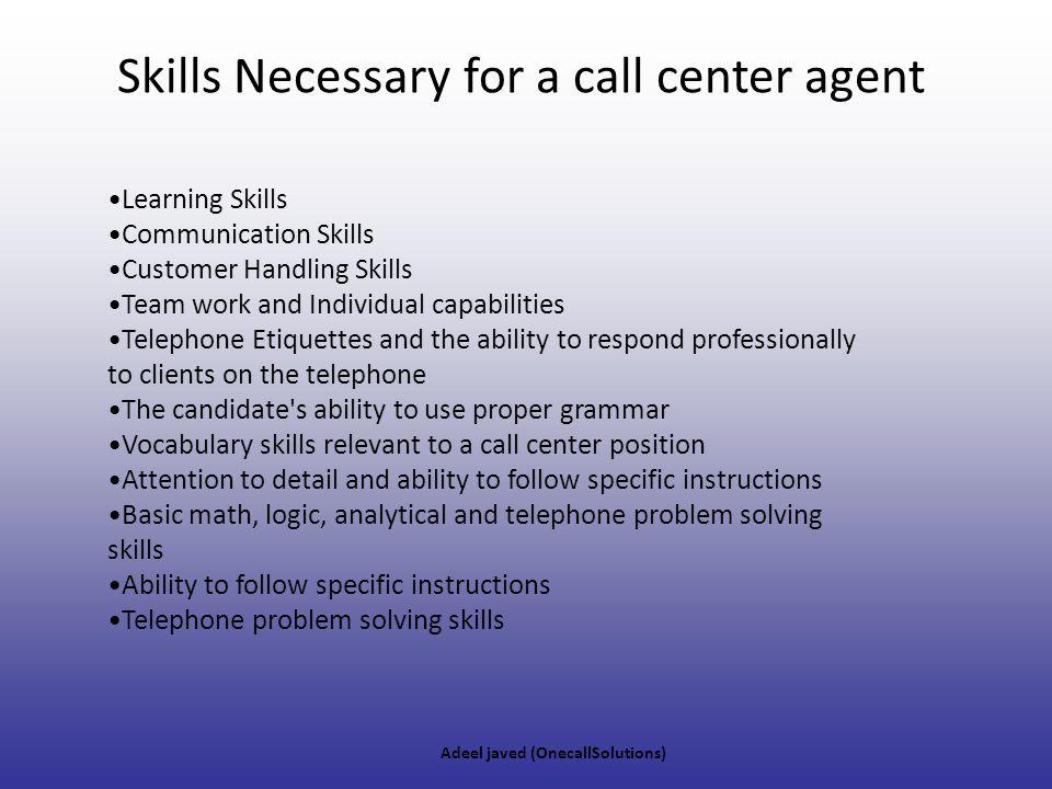 list of skills for cover letter%0A calling center skills