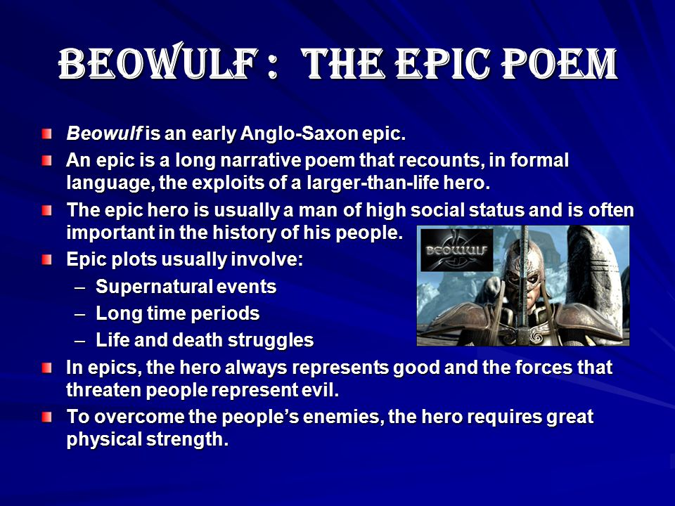 An analysis of the anglo saxon times and the epic beowulf