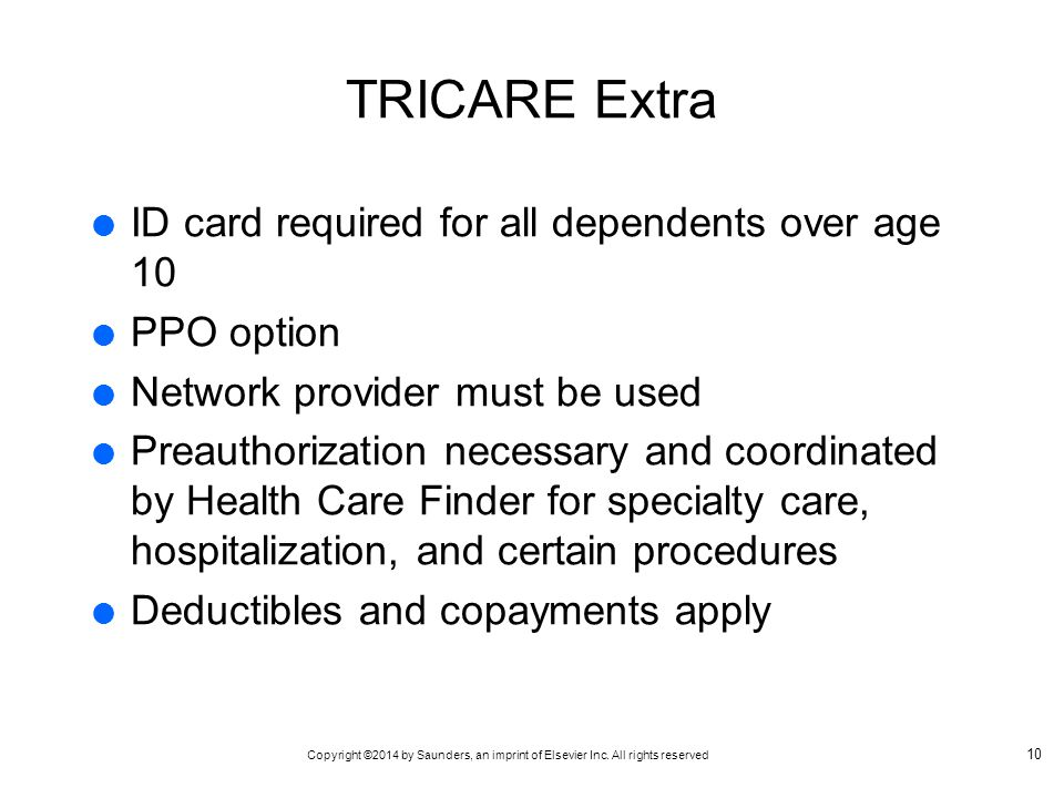 TRICARE Extra ID card required for all dependents over age 10