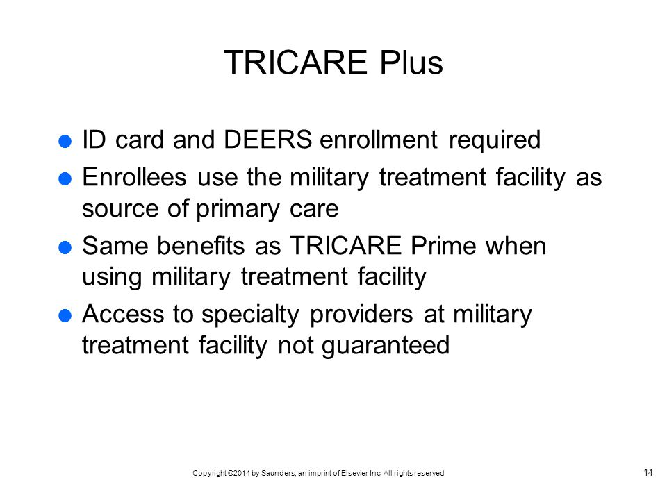TRICARE Plus ID card and DEERS enrollment required