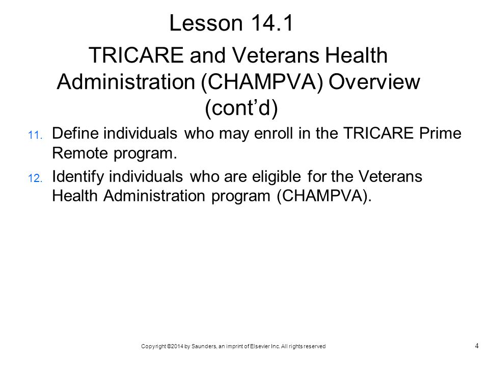 TRICARE and Veterans Health Administration (CHAMPVA) Overview (cont'd)