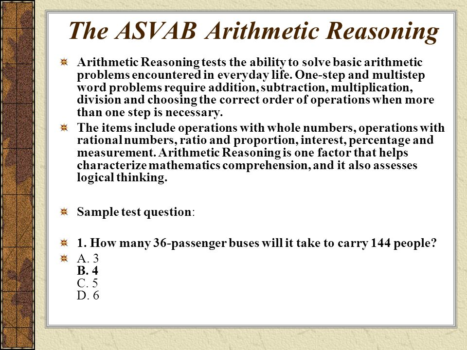 arithmetic reasoning Get familiar with asvab math including arithmetic reasoning and mathematics  knowledge as you prepare for exam day with chegg asvab prep.