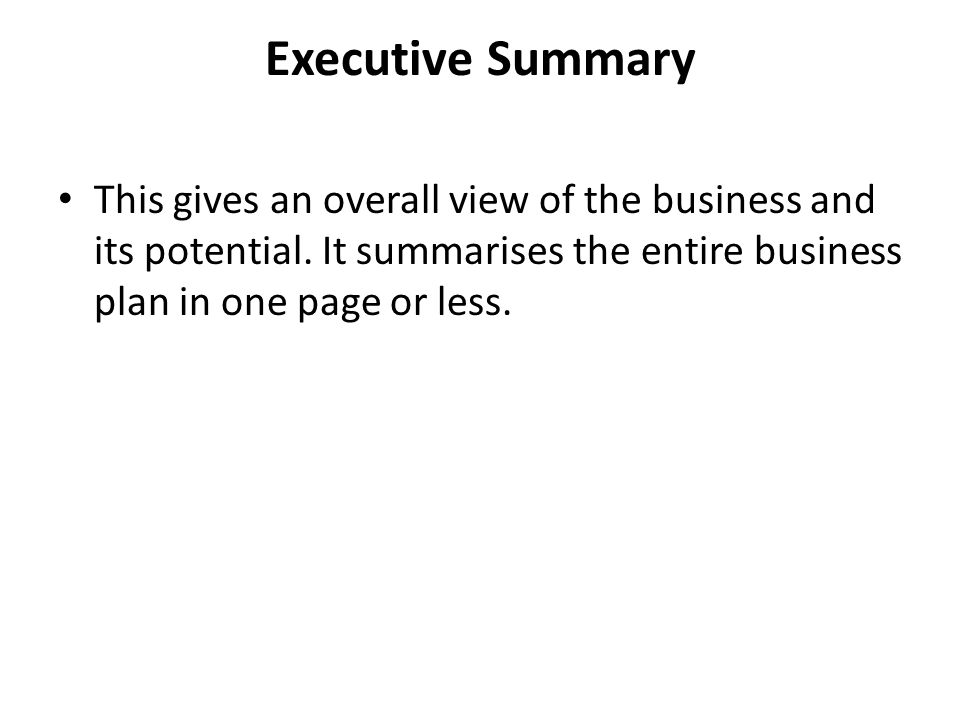 business executive summary
