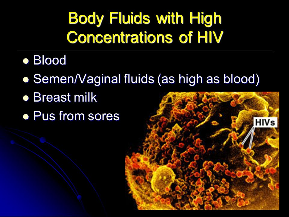 Body Fluids with High Concentrations of HIV