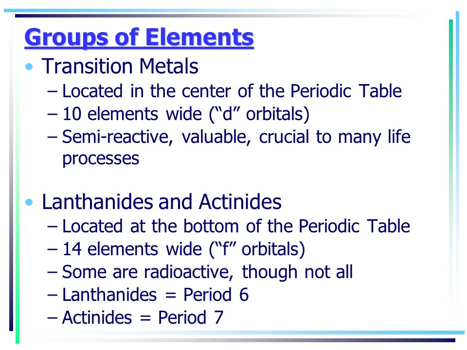 Groups of Elements Transition Metals Lanthanides and Actinides