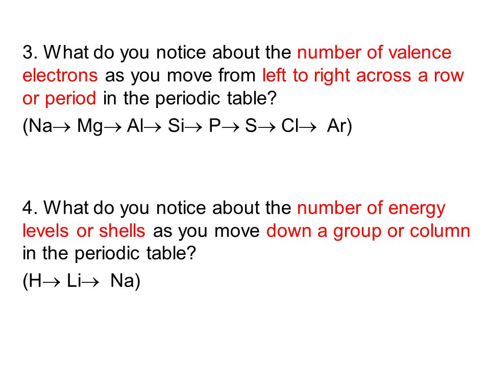 what do you notice about the number of valence electrons as you move from - Periodic Table As You Move Down
