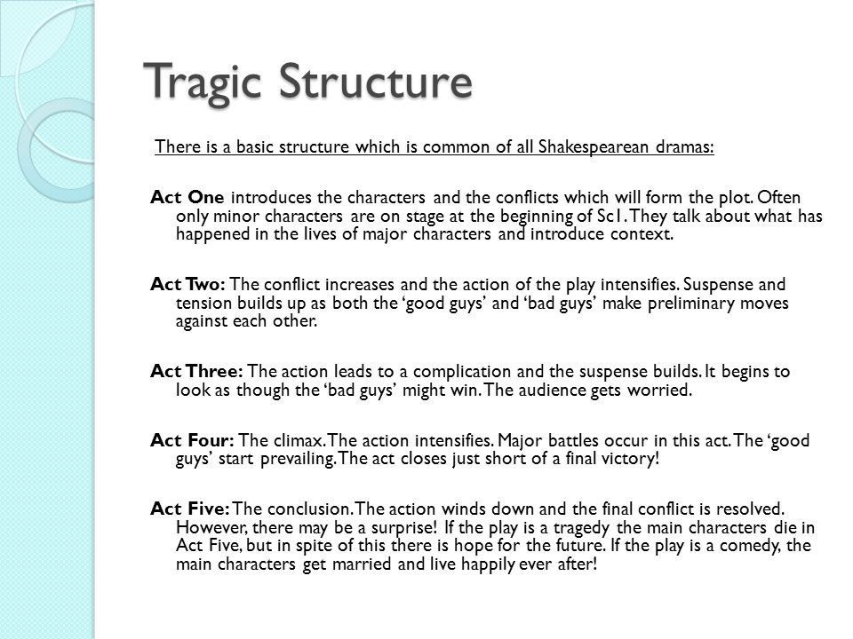 structure of a shakespearean tragedy Our network analysis of the tragedies adds a level of historical nuance to our  understanding of social network structure, by showing how shakespeare builds  the.