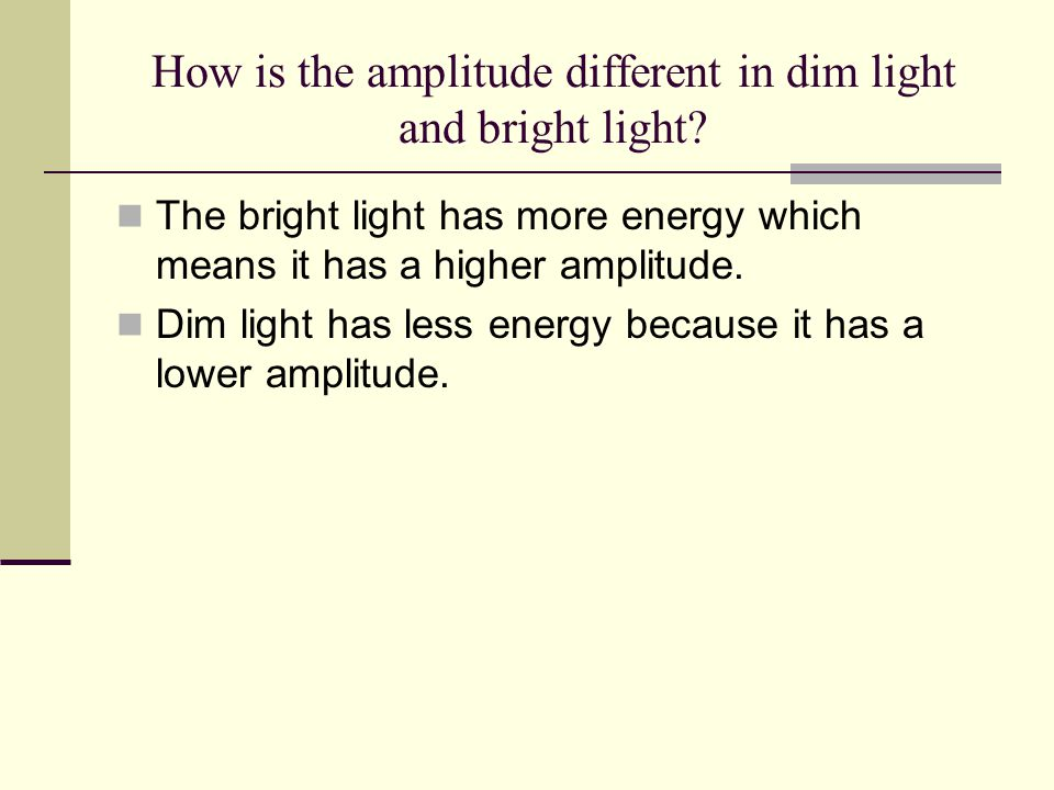 How is the amplitude different in dim light and bright light
