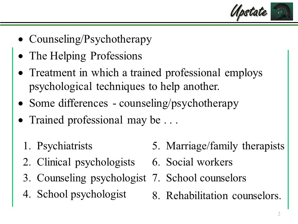 an analysis of the differences between counseling and psychotherapy Survival analyses examining differences in speed to recovery   session of  therapy, and an effect, a measure of symptom relief or recovery in their seminal.