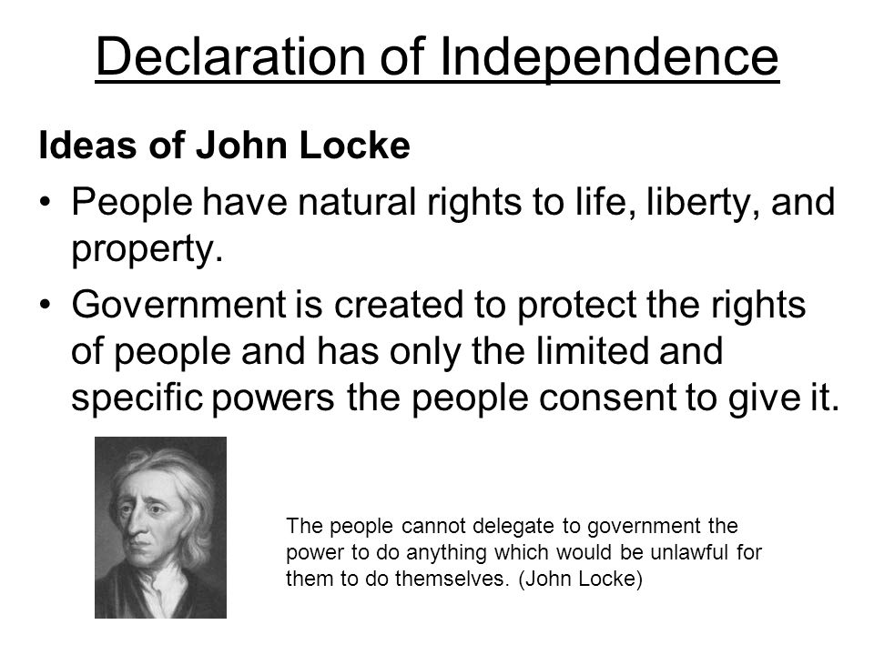 john locke and the declaration of John locke's influence on the declaration of independence (follow the color  code) men being, as has been said, by nature, [are] all free, equal, and.