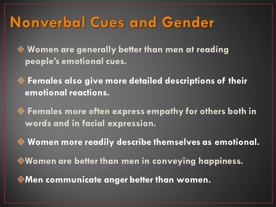 Nonverbal Cues and Gender