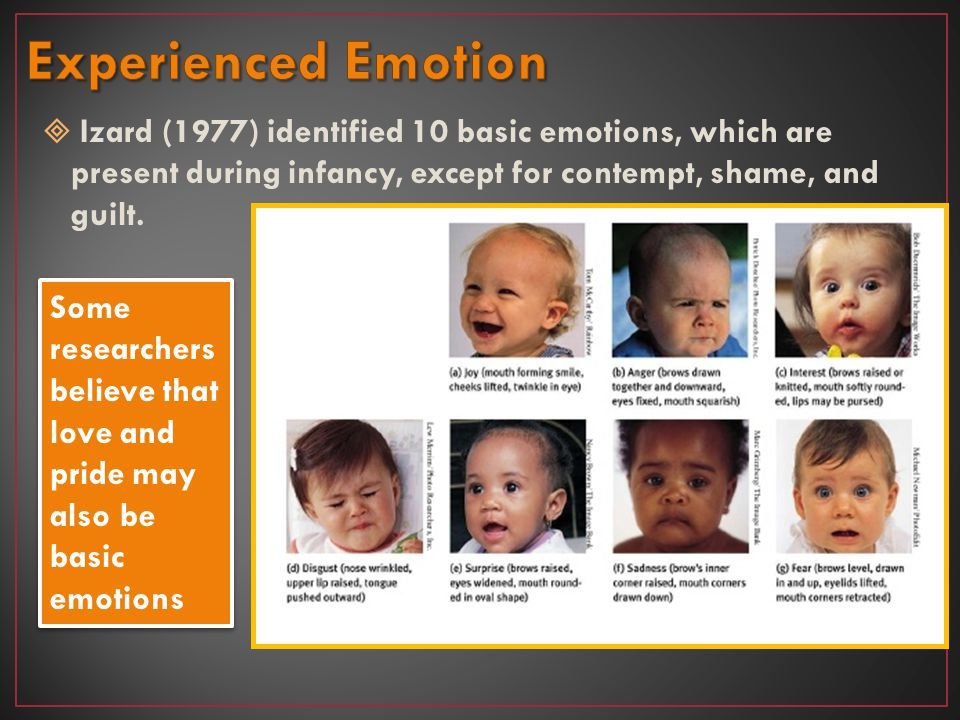 Experienced Emotion Izard (1977) identified 10 basic emotions, which are present during infancy, except for contempt, shame, and guilt.