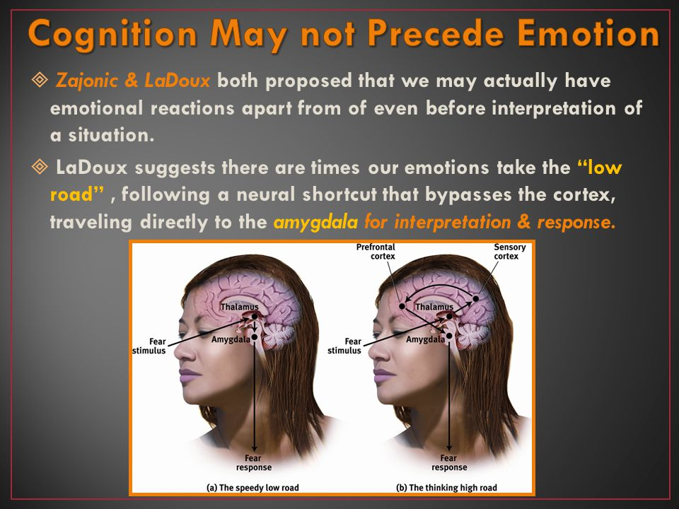 Cognition May not Precede Emotion