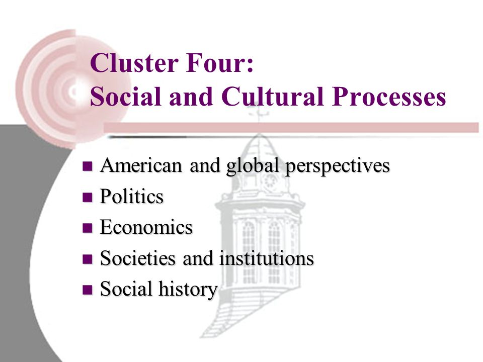 Cluster Four: Social and Cultural Processes