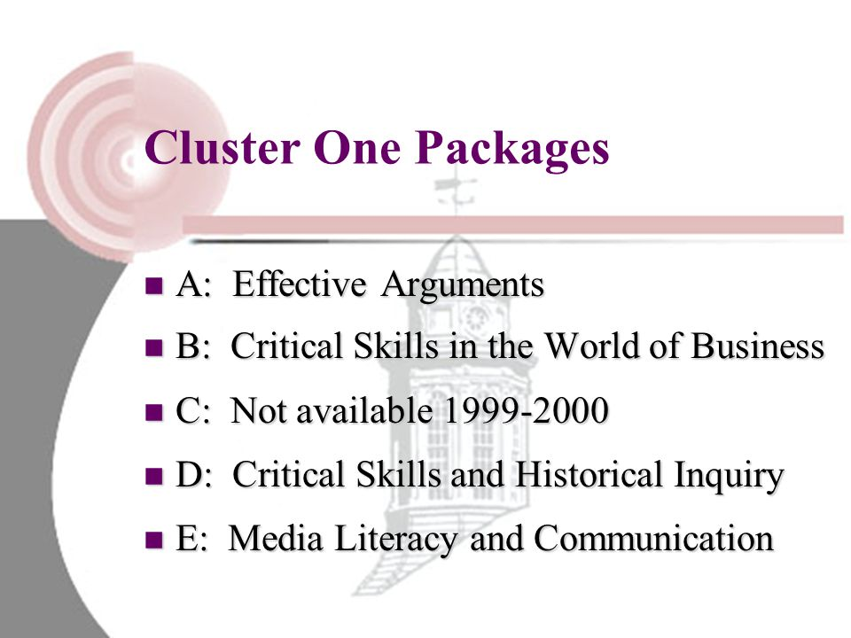 Cluster One Packages A: Effective Arguments