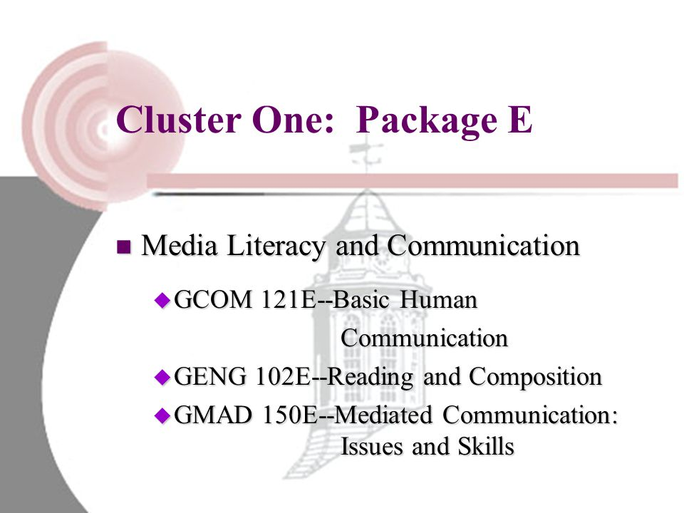 Cluster One: Package E Media Literacy and Communication