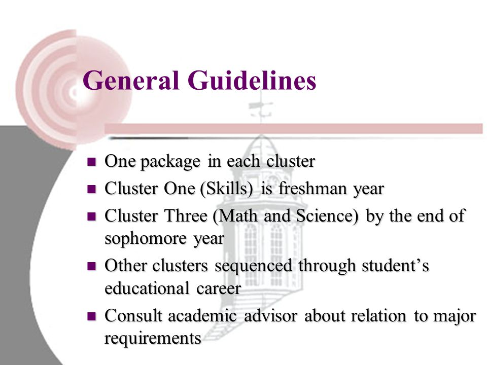 General Guidelines One package in each cluster