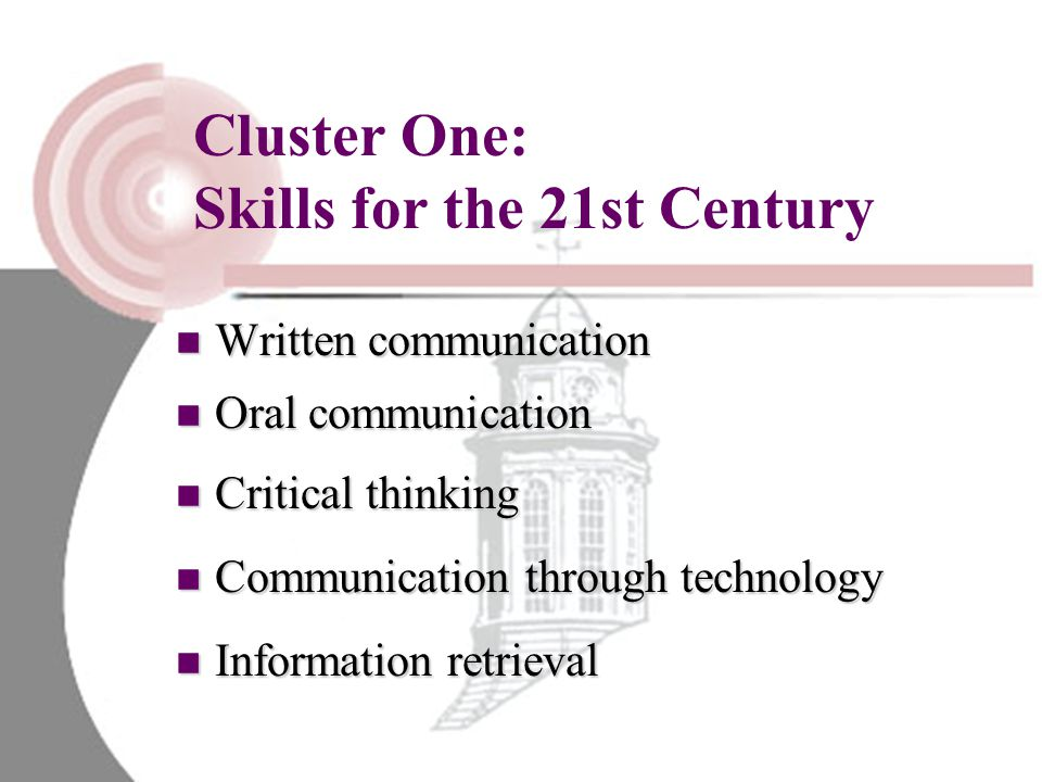 Cluster One: Skills for the 21st Century